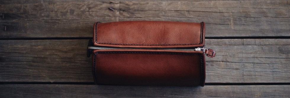 Коричневый кожаный несессер ручной работы