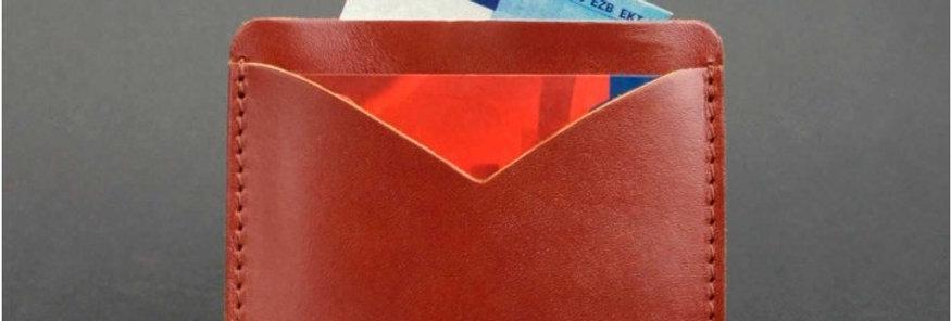 Кожаный холдер для карт ручной работы коричневого цвета