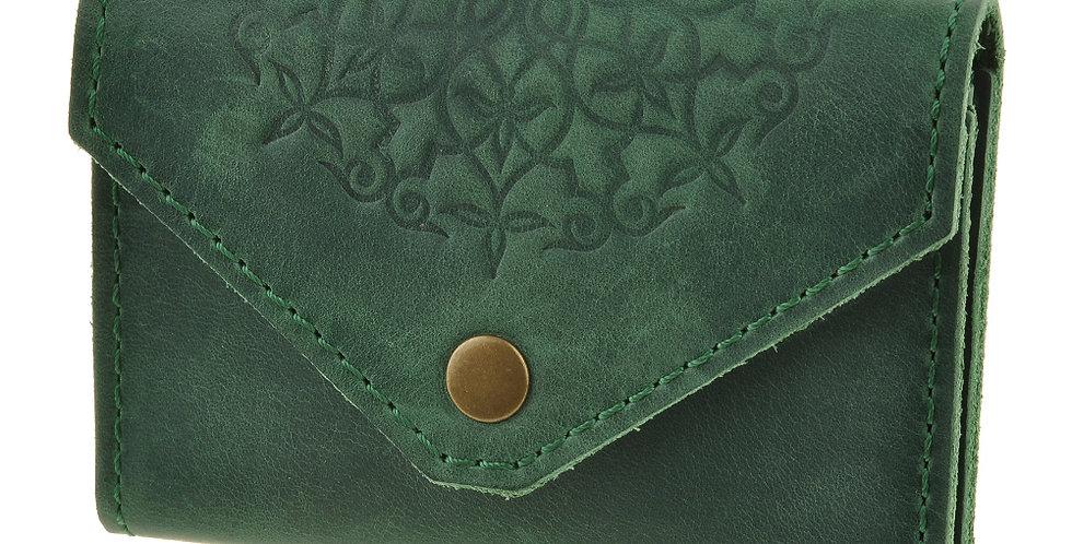 Женский холдер для карт ручной работы зеленого цвета