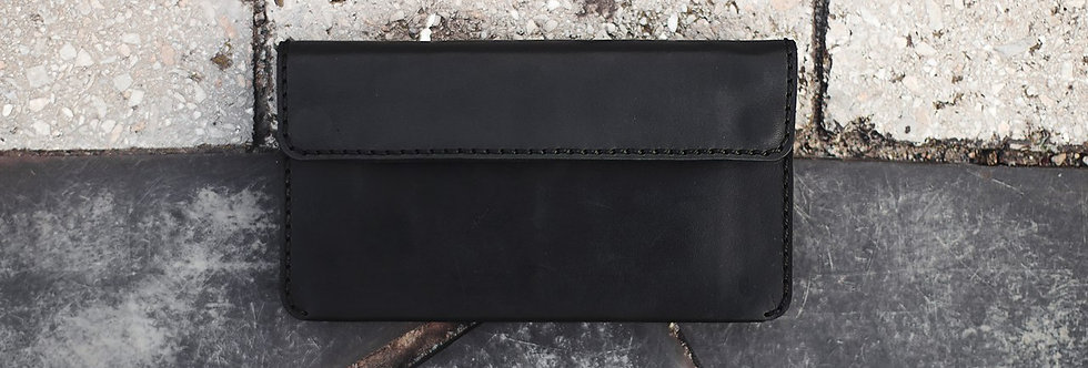 Double snap long wallet черный цвет кожа