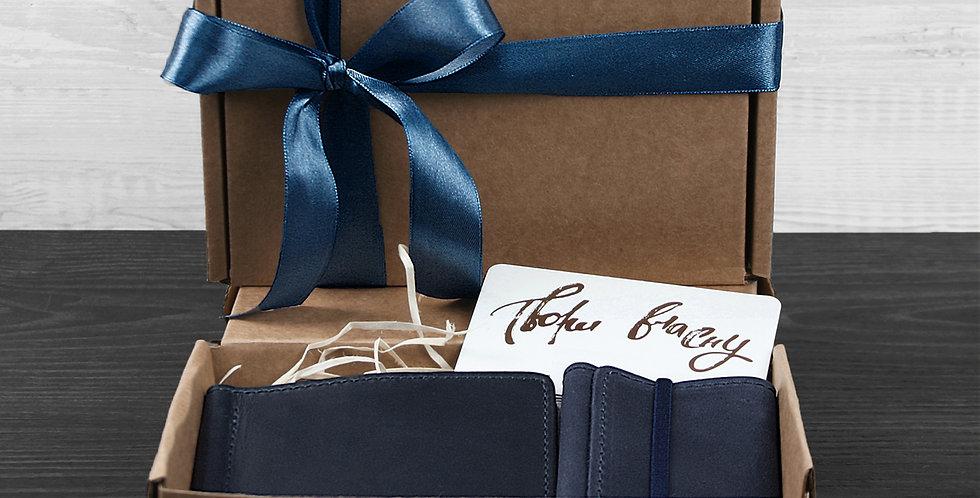 Мужской подарочный набор кожаных аксессуаров ручной работы М2