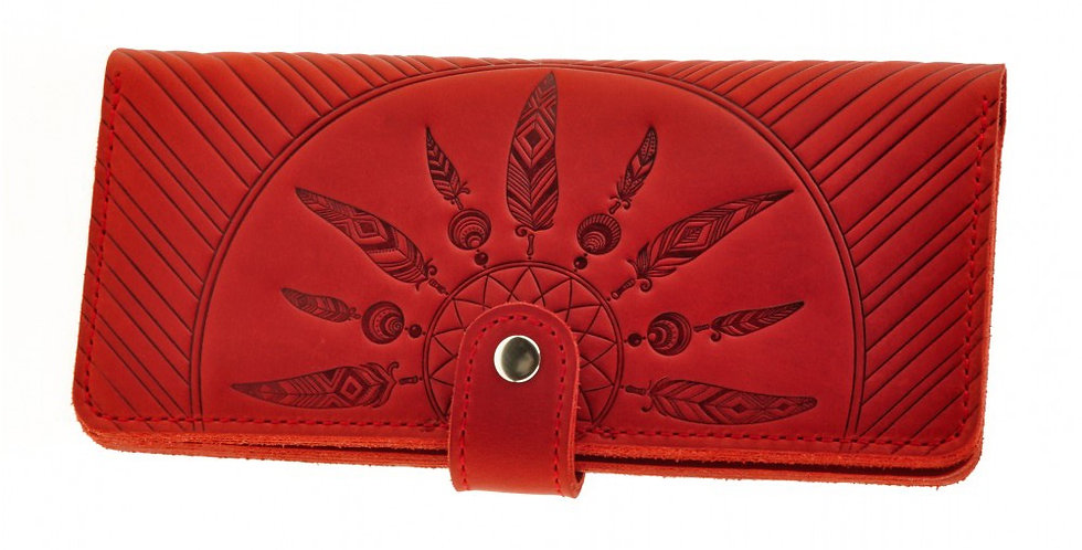 Женский кожаный кошелек ручной работы с дизайнерским тиснением