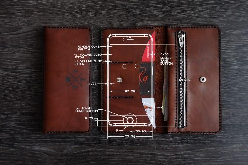 Бумажник ручной работы Р4, вмещающий в себя телефон