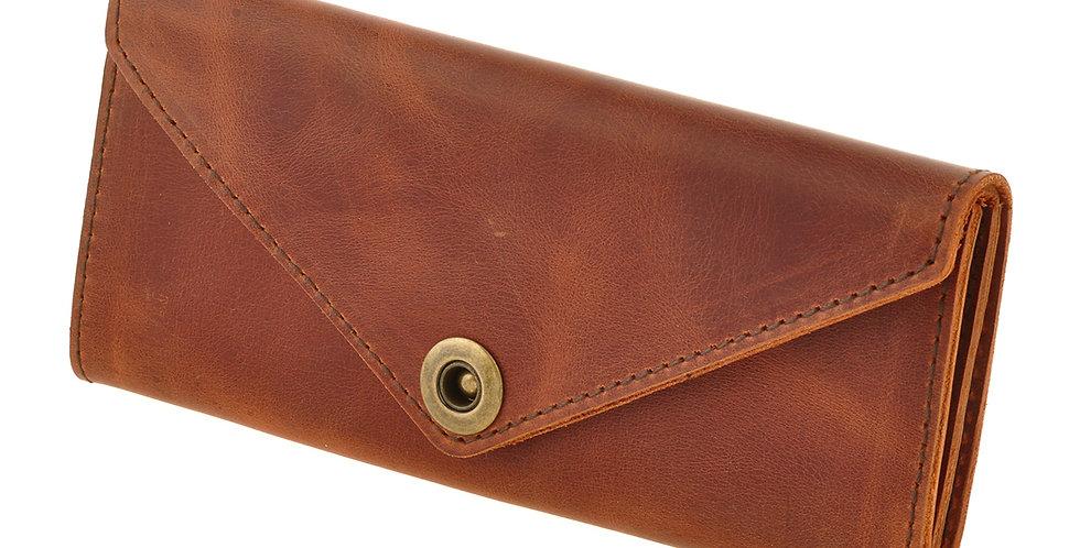 Женский кожаный кошелек ручной работы коричневого цвета
