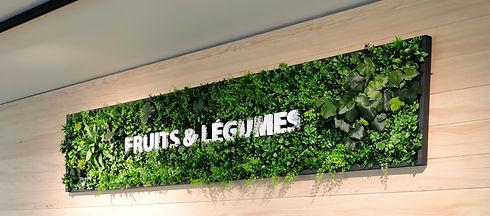 Photo d'un tableau Végétal artificiel avec logo de l'entreprise réalisé par Végétal Tendance