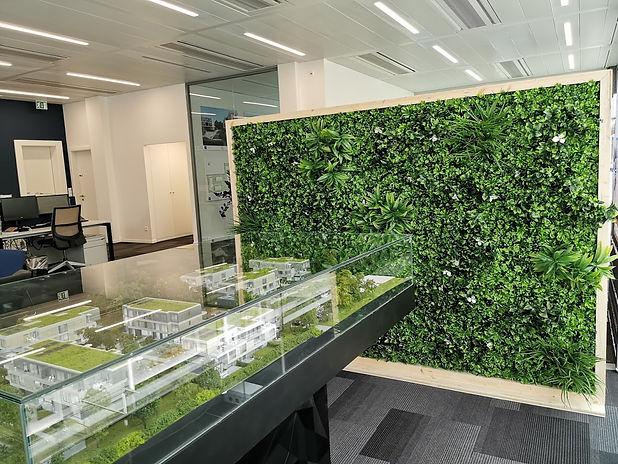 Photo d'une cloison végétale de sépration dans une salle de réunion