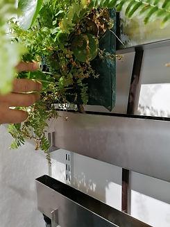 Poche végétalisée fixée dans un rail