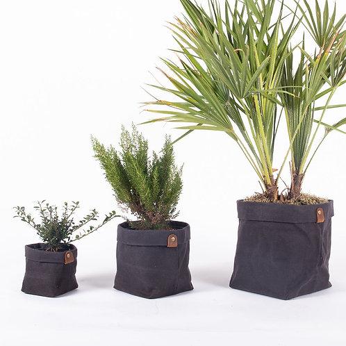 Planter Set - Waxed Canvas - Charcoal