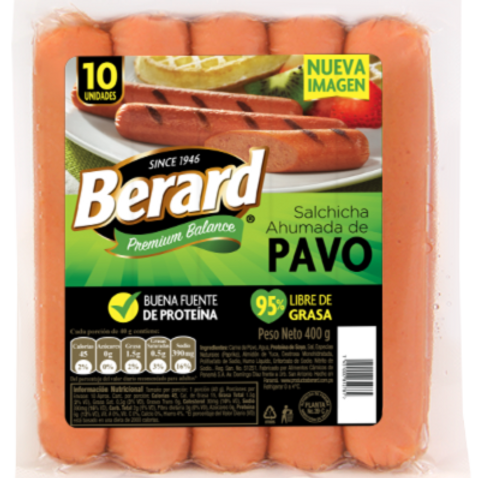 BERARD SALCHICHA AHUMADA DE PAVO 400G