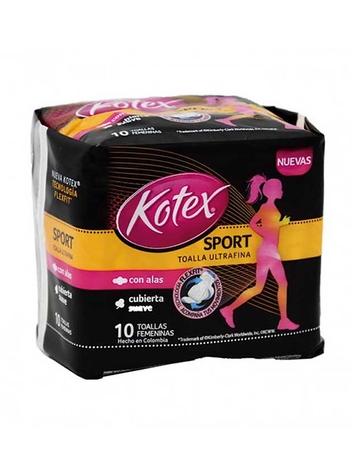 Kotex Toalla Ultrafina Sport Con Alas 10u