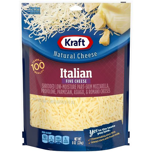 KRAFT ITALIAN FIVE CHEESES SHREDDED 226G