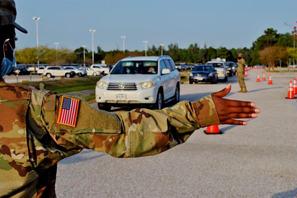 National Guard directing traffic at super site food distribution, September 2020