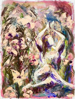 Gomukhasana in the flowers