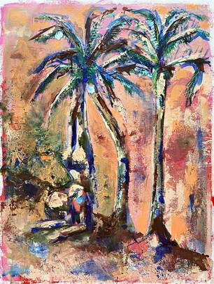 A yogi and palm trees