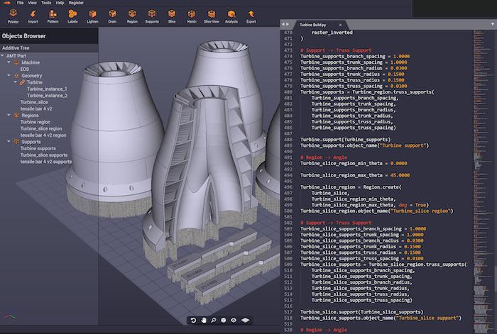 Turbine models shown in Dyndrite 3D geometry software.