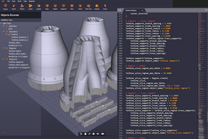 Turbine models shown in Dyndrite 3D geometry software.