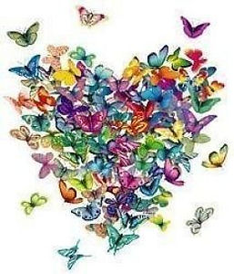 A colorful heart made with butterflies.