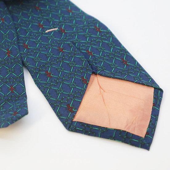 Vintage Tie - Lavender Blue with Green Pattern