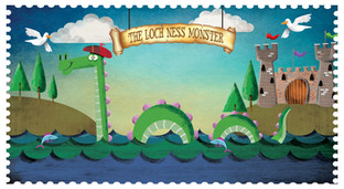 Loch Ness Postcard Illustration