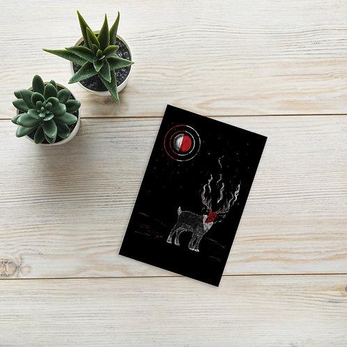 Rudolph the Red Skull Reindeer Mini Postcard Print