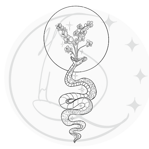 Snake and Orchids Tattoo Design
