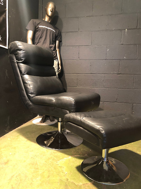 Modern Faux Leather Swivel Chair and Stool