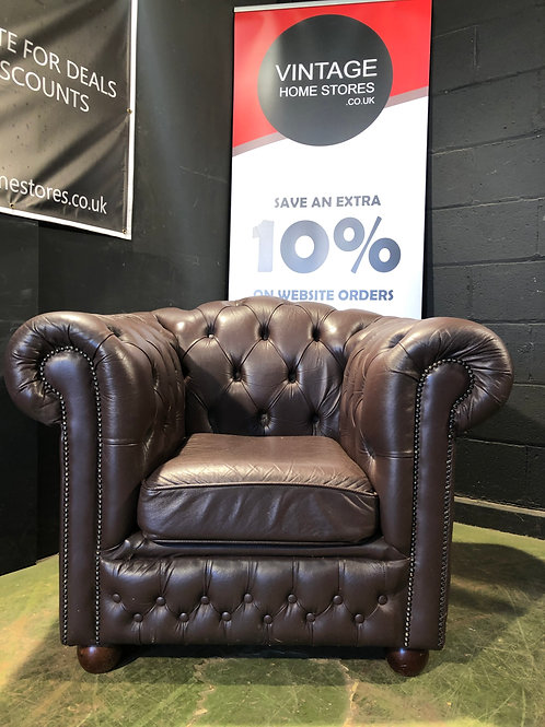 Brown Leather Chesterfield Tub Club Chair