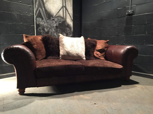 Barker and Stonehouse Tetrad Degas Brown Leather and Fabric Sofa