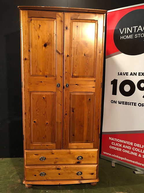 Fully Assembled Pine Wardrobe with 2 Drawers (a)