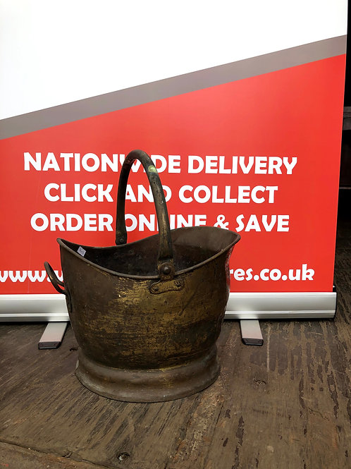 Battered and Bruised Brass Coal Bucket