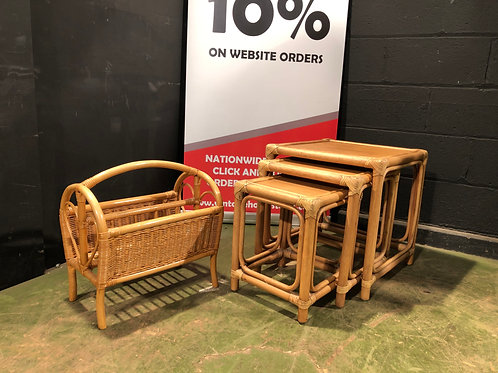 Cane Newspaper Rack and Nest of Tables
