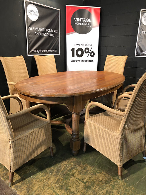 Large Oak Oval Dining Table Country Farmhouse Style