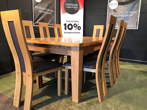 Super Chunky Solid Oak Dining Table and 8 High Back Chairs