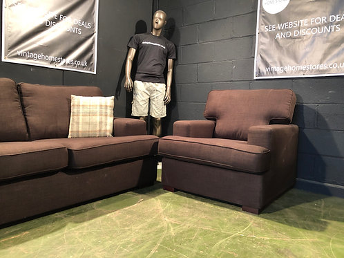 Super Modern 3 Seater and Chair Suite in Brown Fabric