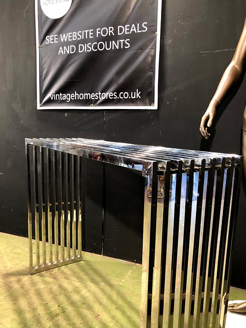 Terrano Chrome Slatted Console Table