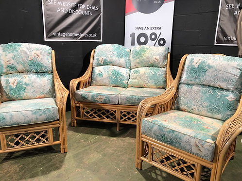 Cane Conservatory Furniture 2 Seater and 2 Chairs (b)