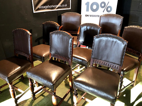 Set of 8 Vintage Gothic Oak and Leather Antique Style Dining Chairs inc 2 Carver