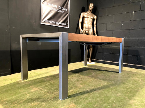 Super Modern Walnut and Brushed Aluminium Extending Dining Table