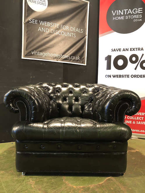 Super Vintage Green Chesterfield Club Tub Accent Chair