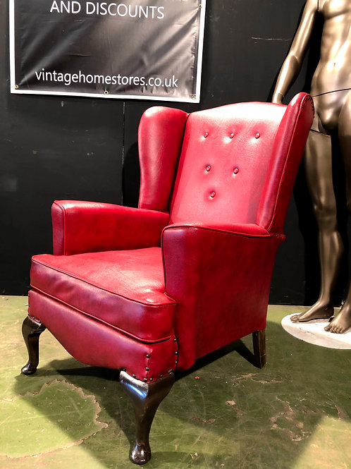 Vintage High Back Queen Anne Style Chair in Red (a)