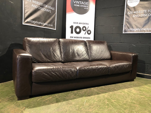 Barker and Stonehouse Contemporary 3 Seater Brown Leather Sofa