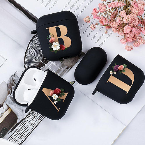 Floral Gold Initial Alphabet Letter Soft Case for AirPods 2