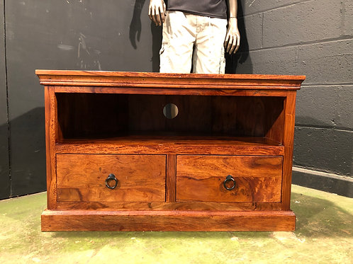 Indian Jali Style Solid Wood Corner TV Stand