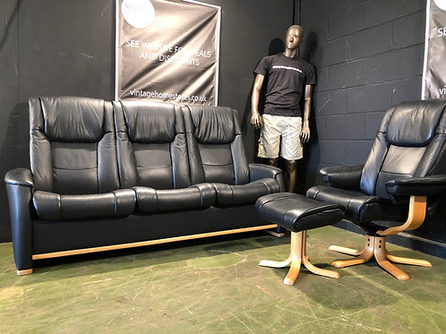 Super Modern Danish Black Leather 3 Seater Sofa Swivel Chair and Stool Suite