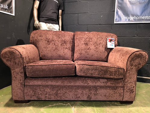 Brown Crushed Velvet Style 2 Seater Sofa
