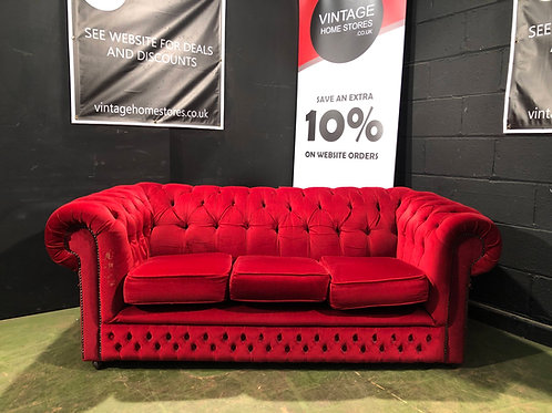 Red Chesterfield Fabric Sofa