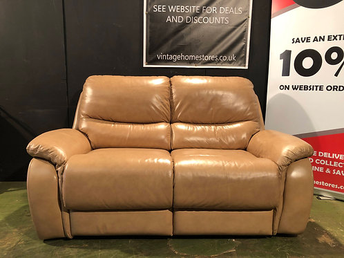 Modern 2 Seater Caramel Leather Reclining Sofa (2/2)