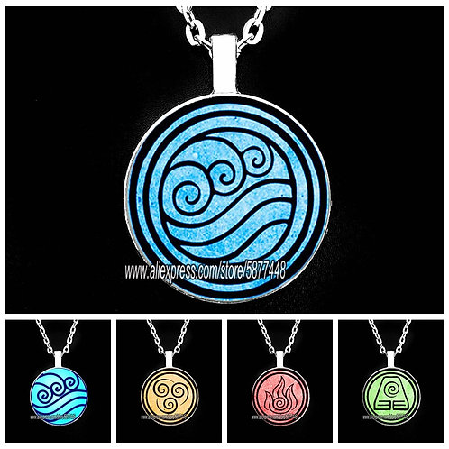 New Avatar Man Necklace Air Nomad Fire and Water Tribe Pendant Glass Necklaces