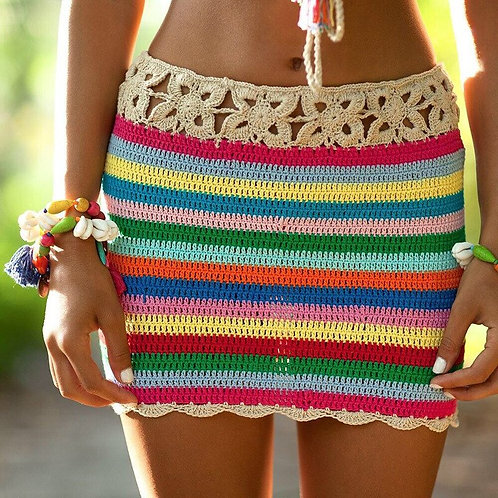 Colorful Crochet Skirt Women Summer Beach Bikini Swim Suit Cover Up Beachwear