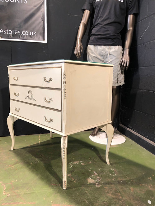 Gothic Shabby Chic Style White Olympia Queen Ann Chest of Drawers B